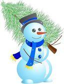 Snowman with fir tree — Stock Vector