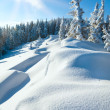 Stock Photo: Snowdrifts on winter snow covered mountainside and sun