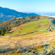 Autumn misty morning mountain panorama - Stock Photo