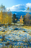 Autumn hoarfrost on mountain glade — Stock Photo