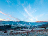 First autumn frosts and sunrise in mountain — Stock Photo
