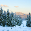 Stock Photo: Winter sunset mountain landscape