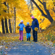 Family in autumn maple park - Stock Photo