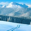 Winter mountain panorama with ski track — Stock Photo #7580845