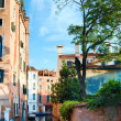 Venice view with tree and sunshine - Stock Photo