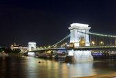 Wgląd nocy budapest chain bridge — Zdjęcie stockowe