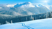 Winter mountain panorama with ski track — Stok fotoğraf