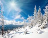 Snowy mountain sunshine landscape — Stock Photo
