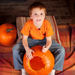 Stock Photo: Young boy carving pumkins