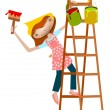 Painter girl. — Stock Vector