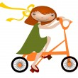 Girl on a bicycle - Stok Vektör