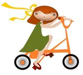 Girl on a bicycle — Stock Vector