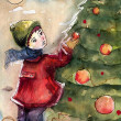 Watercolor Christmas — ストック写真