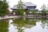 Old japan temple style in colorful leaf and tree in japan : Kouyou — Foto de Stock