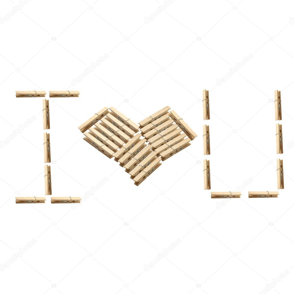 Love wood clamp : Isolated heart shape — Stock Photo #7806025