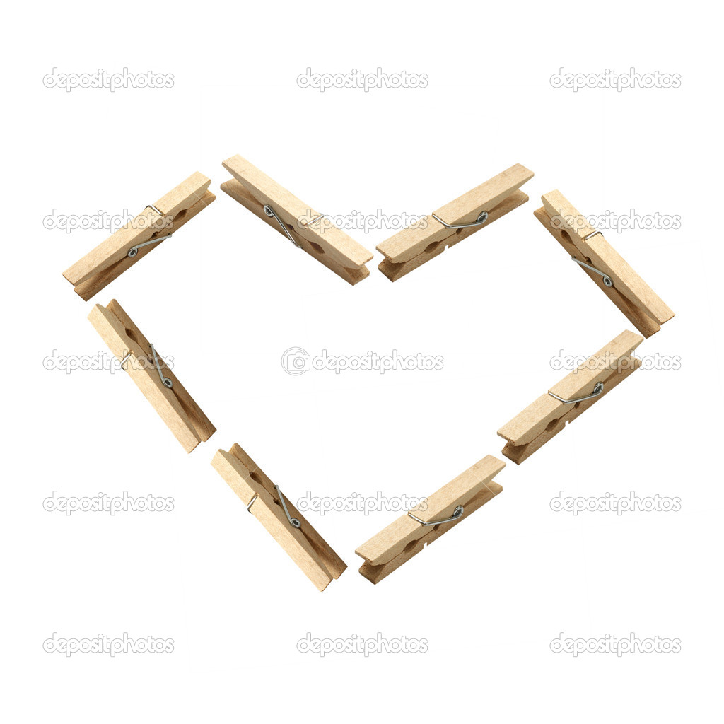Love wood clamp : Isolated heart shape — Stock Photo #7806039