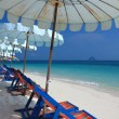 Beach chair and colorful umbrella on the beach , Phuket Thailand — Lizenzfreies Foto