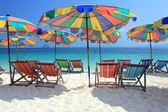 Beach chair and colorful umbrella on the beach , Phuket Thailand — Stock Photo