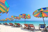 Beach chair and colorful umbrella on the beach , Phuket Thailand — Stock Photo