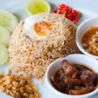 Delicious Thailand traditional food : fried rice with chili dip, pork and s — Stock Photo #7957720
