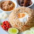Delicious Thailand traditional food : fried rice with chili dip, pork and s — Stock Photo #7957747
