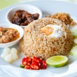 Delicious Thailand traditional food : fried rice with chili dip, pork and s — Stock Photo