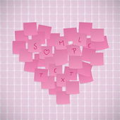 Pink Sticky Notes Valentine Card — Stock Vector