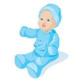 Muñeca vestida de azul — Vector de stock