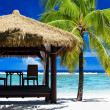Tropical gazebo on amazing beach with palm tree - Stock Photo