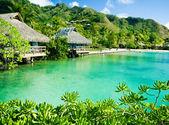 Over water bungalows en een groene lagune — Stockfoto