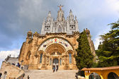 Tibidabo church on mountain — Stock Photo