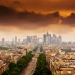 Stock Photo: Image with dramatic clouds over Champs Elysees in Paris