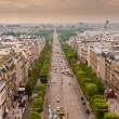 Image above the Champs Elysees in Paris - Stock Photo