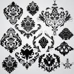 moderno elegante set damascato floreale — Vettoriale Stock