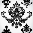 Vintage Black Shape Damask Flourish Elements — Stock Vector