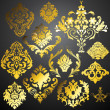 Decorative Golden Damask Elements — Stock Vector