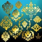 Set Of Ornament Damask Elements — Stock Vector