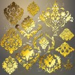 Awesome Golden Damask Elements — Stock Vector