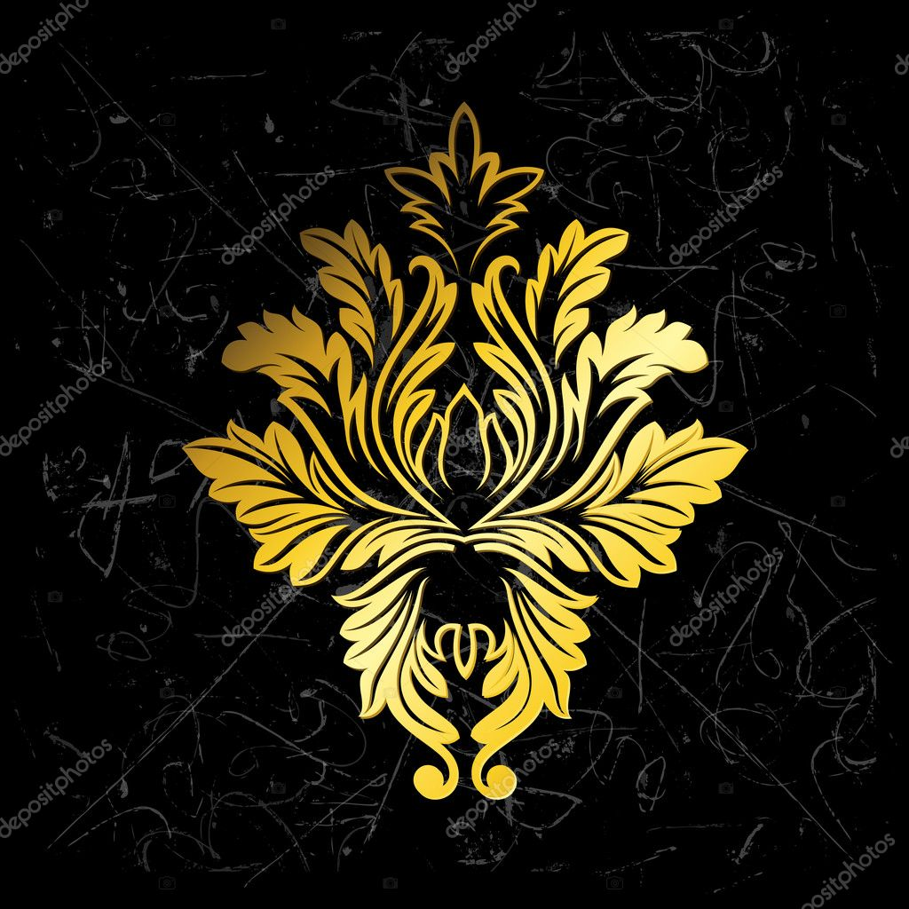 Creative Abstract Vintage Grunge Golden Damask Floral Illustration — Stock Vector #6755551