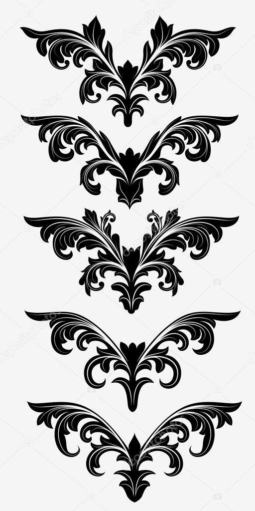 黑色的小插图形状花元素
