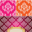 Retro Damask Banner Background - Stock Vector