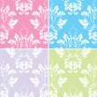 Beautiful Collection Of Decorative Damask Pattern — Stok Vektör