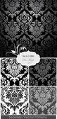 Impresionante damasco patrón floral — Vector de stock