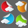 Paper Sticker With Clouds — Stock Vector