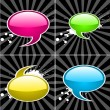 Colored Speech Bubbles On Retro Background — Stock Vector