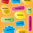 Colored Text Sticker Style Speech Bubbles — Stock Vector