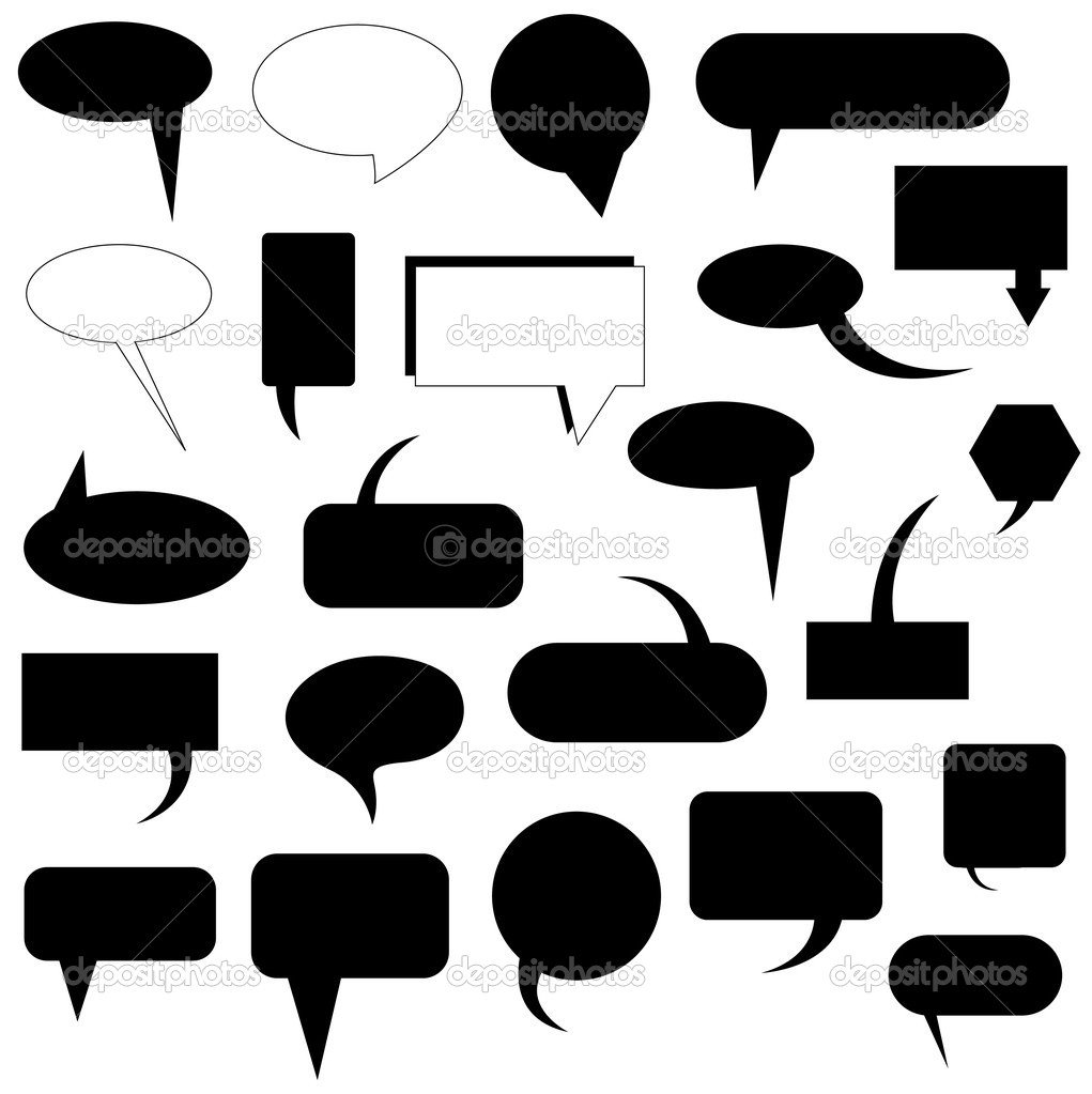 Creative Conceptual Abstract Art Of Black Shape Speech Bubbles  Stock Vector #6904499