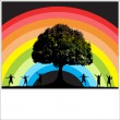 Stock Vector: Rainbow Background with Happy Kids Silhouettes