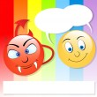 Royalty-Free Stock Imagem Vetorial: Cute Devil and Angel Smiley