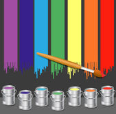 Paint Bucket and Color Stripes — Stock Vector